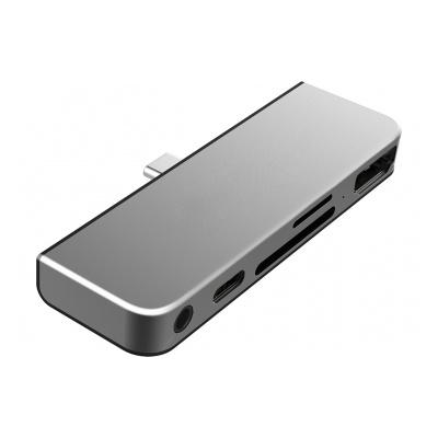 Onearz Mobile Gear Adap USB-C 5 en 1 iPad Pro HDMI4K+USB-C+SD+mSD+Audio Silver