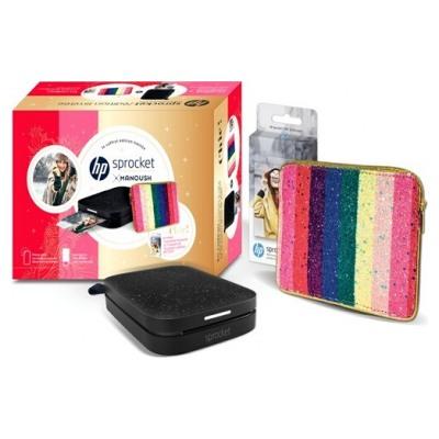 Hp Pack Sprocket 200 Noire Manoush + 1 paquet de 20 papiers + Housse