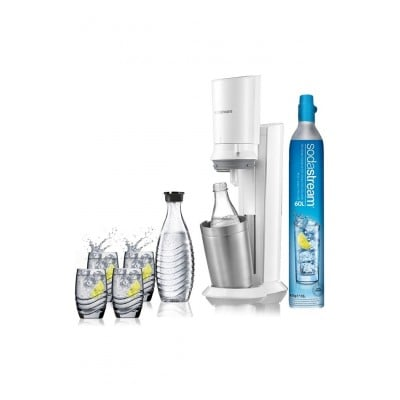 Sodastream Machine CRYSTAL Blanche avec 2 carafes et 4 verres de service