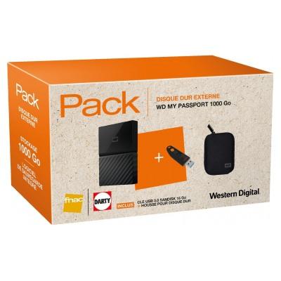 "PACK WD DD2.5 1TB NOIR + WD ETUI NOIR DISQUE DUR 2.5"" + CLE USB 3.0 ULTRA 16GO"