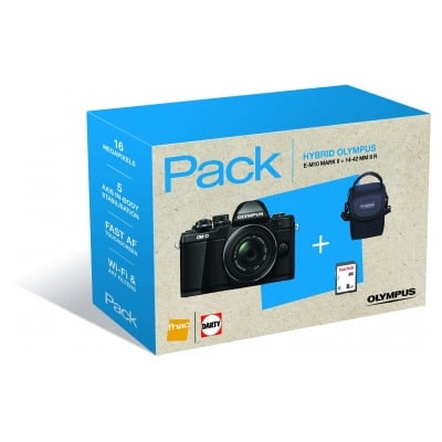 Olympus E-M10 MARK II + OBJECTIF 14-42MM II R + SACOCHE + CARTE SD 8 GO