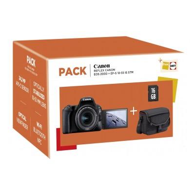 Canon PACK EOS 200D NOIR + EF-S 18-55 MM F/4-5,6 IS STM + Housse + Carte SD 16 Go