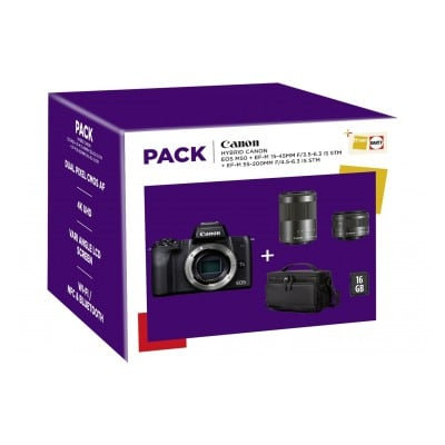 Canon PACK EOS M50 + 15-45MM + 55-200MM + SD16GO + SACOCHE