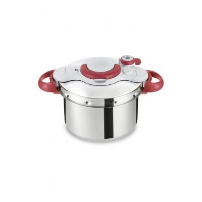 Seb Autocuiseur rouge induction CLIPSOMINUT' EASY Cocotte minute® 7,5L + Livre de 100 recettes