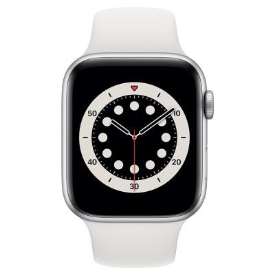 Apple Watch Series 6 GPS, 40mm boitier aluminium argent avec bracelet sport blanc