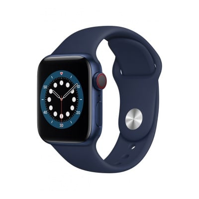 Apple Watch Series 6 GPS, 44mm boitier aluminium bleu avec bracelet sport bleu marine