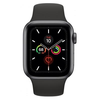 Apple Watch Series 5 GPS 44mm, Boitier Aluminium Gris Sidéral avec Bracelet Sport Noir - S/M & M/L