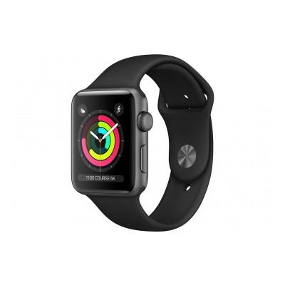 Apple Watch Série 3 GPS 38mm Boîtier en aluminium gris sidéral avec Bracelet Sport Noir